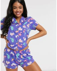 Chelsea Peers Pyjamaset Met Lilo-print - Blauw