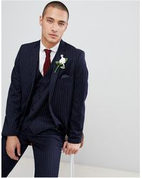 French Connection Slim Pinstripe Suit Jacket - Blue