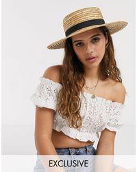 South Beach Эксклюзивная Соломенная Шляпа Канотье С Черной Лентой -бежевый - Естественный