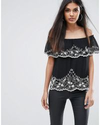 Lipsy - Off Shoulder Top With Beading - Lyst
