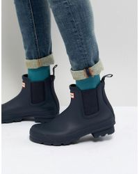 HUNTER Original Chelsea Boots In Navy - Blue