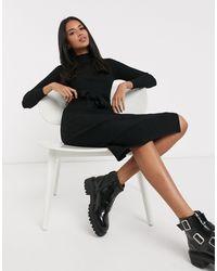 New Look Tie Waist Knitted Dress - Black