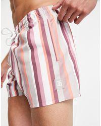 TOPMAN Stripe Swim Short - Pink