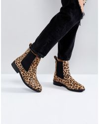 River Island - Faux Pony Hair Leopard Print Chelsea Boots - Lyst