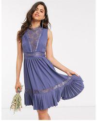 Little Mistress Lace-trim Skater Dress - Purple