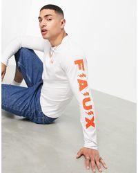 Friend or Faux Inset Longsleeve T-shirt - White