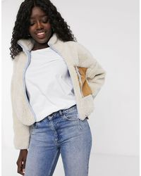 Pull&Bear Светло-бежевая Флисовая Куртка -белый - Многоцветный
