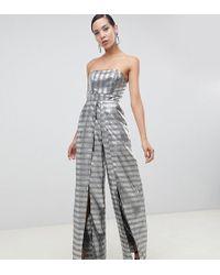 incontrare fa632 b8ead Tuta jumpsuit lunga a fascia strutturata in jacquard argento con spacco -  Metallizzato