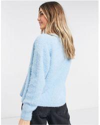 New Look Пушистый Кардиган Голубого Цвета С Вышивкой От Комплекта -голубой - Синий