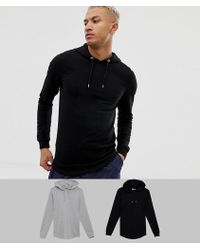 ASOS Longline Muscle Fit Hoodie 2 Pack With Curved Hem In Black/gray Marl Save