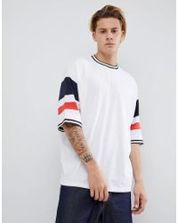 ASOS - Oversized T-shirt With Colour Blocking In White - Lyst