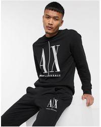 Armani Exchange - Черный Свитшот С Круглым Вырезом И Логотипом -черный Цвет - Lyst