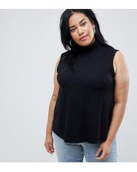 ASOS - Asos Design Curve Sleeveless Top With Roll Neck In Black - Lyst