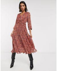 Y.A.S Midi-jurk Van Chiffon Met Ruches En Bloemenprint - Rood