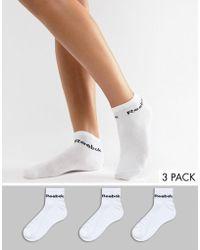 Reebok - Training Socks 3 Pack In White - Lyst