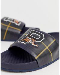 Polo Ralph Lauren Gordon - Slippers Met Schotse Ruit En Tijgerlogo - Blauw