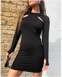 Weekday – shirin – minikleid aus bio-baumwolle mit zierausschnitten - Schwarz