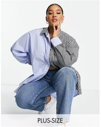 Collusion Oversized Splice Gingham Check Shirt - Blue