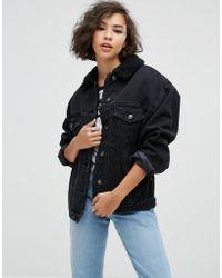 ASOS | Denim Borg Jacket In Washed Black | Lyst