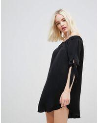 Hazel Off Shoulder Shift Dress - Black