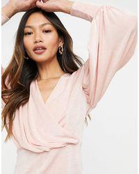 Closet Нежно-розовая Блузка С Запахом И Объемными Рукавами -розовый