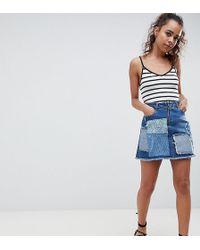 e889b4eaf Urban Bliss - Deconstructed Lace Patchwork Denim Mini Skirt - Lyst