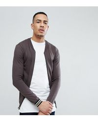 ASOS - Design Tall Knitted Bomber Jacker In Gray With Tipping - Lyst