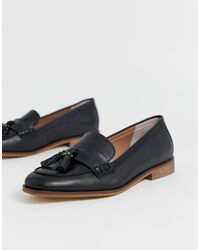 Office Fiza Black Leather Fringed Flat Loafers