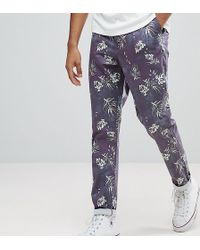 ASOS DESIGN - Asos Tall Slim Cropped Pants In Vintage Washed Out Leaf Print - Lyst