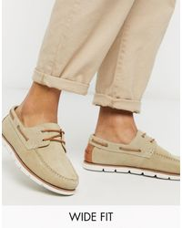 ASOS Wide Fit Boat Shoes - Natural