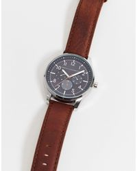 French Connection Leather Strap Watch - Brown