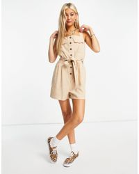 ONLY Utility Playsuit With Button Front - Natural