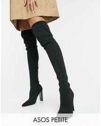 ASOS Petite - Kudos - Dijhoge Gebreide Laarzen Met Blokhak - Zwart