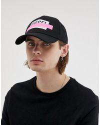 DIESEL Cappellino nero con logo e fettuccia
