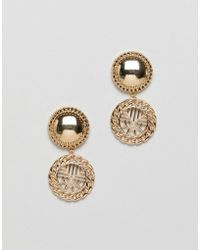 ASOS - Earrings With Vintage Style Cut Out Drop In Gold - Lyst