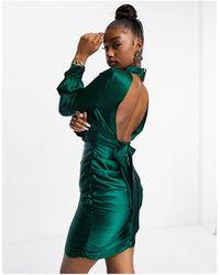 Club L London Vestido corto verde azulado con lazo en la parte trasera en satén