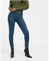 Bershka Jeans skinny blu scuro a 5 tasche