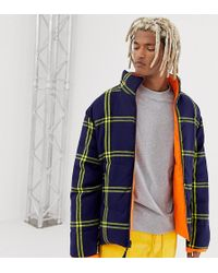 Collusion Reversible Puffer Coat In Check - Blue
