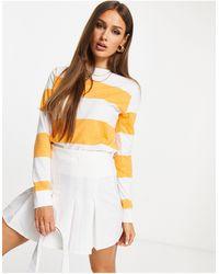 UNIQUE21 Sweat-shirt rayé - Blanc et orange