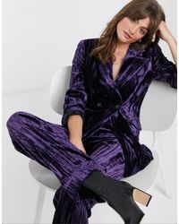& Other Stories Crushed Velvet Pant - Purple