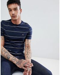 Original Penguin - Space Dye Stripe T-shirt Slim Fit Embroidered Logo In Navy - Lyst