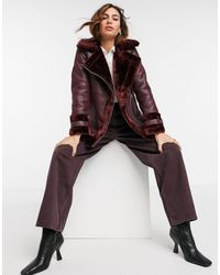 River Island Faux Shearling Aviator Jacket - Red
