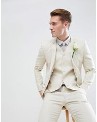 ASOS - Asos Wedding Super Skinny Suit Jacket In Stone Linen - Lyst
