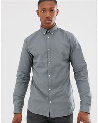 Jack & Jones – Hochwertiges Stretch-Oxfordhemd - Grau