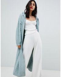 Micha Lounge Cardigan long à capuche - Bleu