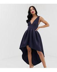 True Violet Exclusive Plunge Front High Low Skater Dress In Navy - Blue