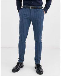 ASOS – Superenge blaue Anzughose mit blauen Ton-in-Ton-Streifen
