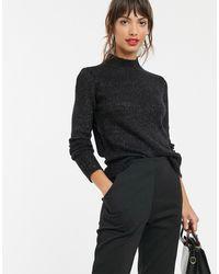 Vero Moda Hoogsluitende Gebreide Trui - Zwart