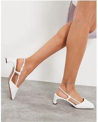 ASOS Sabrina - Chaussures à talon mi-haut et bride arrière - Blanc
