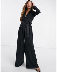 ASOS Mono largo negro estilo esmoquin con pernera ancha